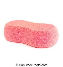 Pink sponge isolated on white background