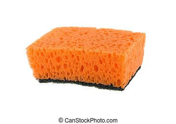 Pink sponge on white background