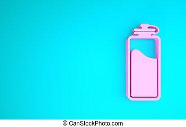 Pink Sport bottle with water icon isolated on blue background. Minimalism concept. 3d illustration 3D render