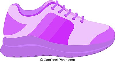 Pink sport shoe icon, flat style