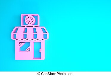Pink Sports shop and basketball ball icon isolated on blue background. Sport store. Minimalism concept. 3d illustration 3D render