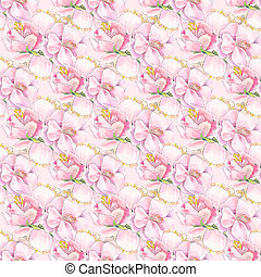 Pink spring seamless pattern with watercolor flower like roseship, peony, sakura. Watercolor pink background in vintage style. Suit for wallpaper, wrapping paper etc.