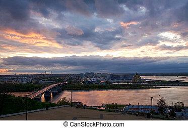 Pink spring sunset in Nizhny Novgorod