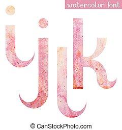 Pink spring watercolor font letters I J K L