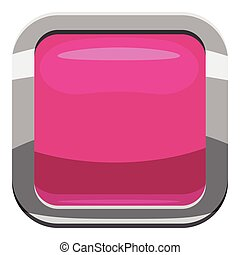 Pink square button icon, cartoon style