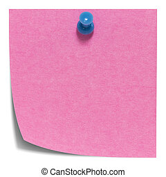 Pink square sticky note with shadow