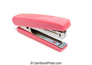 pink stapler with clipping path