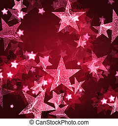 pink stars over dark wine-red background with feather center
