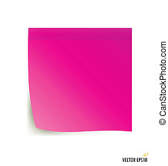 Pink stick note isolated on white background, vector...