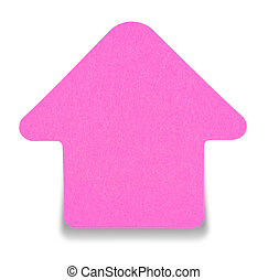Pink sticky note isolated