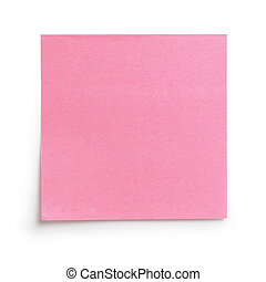 pink sticky note with shadow, isolated on white