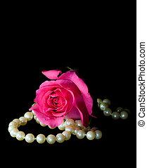 pink stieg, und, perlen