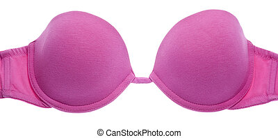 Pink Strapless Bra Close Up Isolated on White with a...
