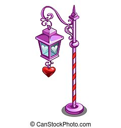 Pink street lamp with a pendant in the shape of a red heart isolated on white background. Vector cartoon close-up illustration.