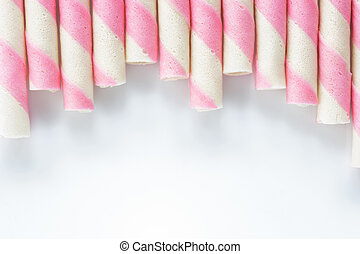 pink stripe wafer roll on white Background.