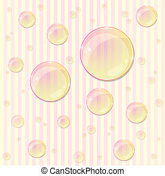 Pink Striped Seamless Pattern with Bubble Drops