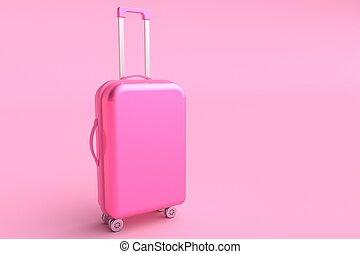 Pink suitcase. 3d rendering