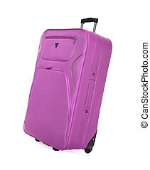 Pink suitcase isolated.