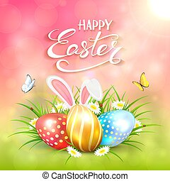 Pink sunny background with Easter eggs and rabbit ears in grass