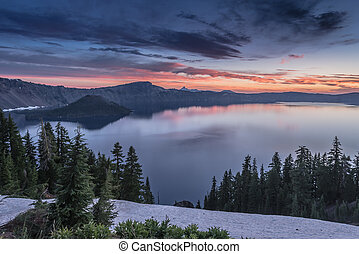 Pink Sunrise Breaks Over Crater Lake