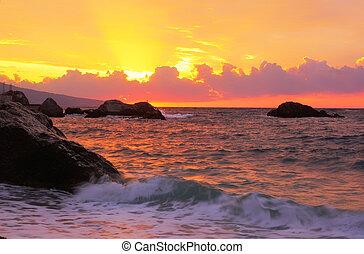 Pink sunrise over the Black Sea in the Crimea, Russia