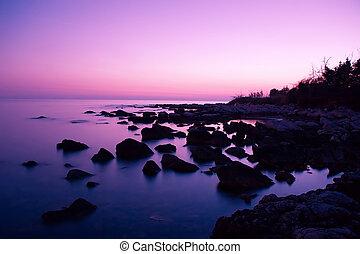 Pink Sunset - Fantastic scene of pink sky reflection at...