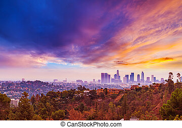 Pink sunset over Los Angeles