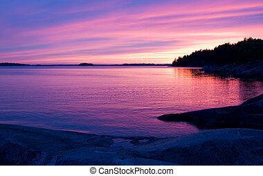 Pink sunset in the archipelago of Stockholm.