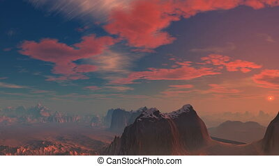 Pink sunset - Sky and clouds painted in pink. The camera...