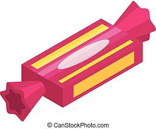 Pink sweet bonbon icon, isometric style