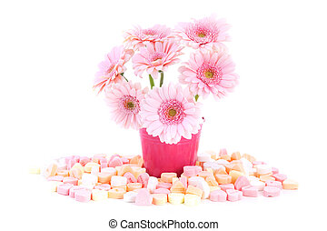 Pink sweet Gerber flowers with heart candy