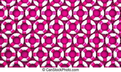 Pink swim rings on pink background. Loop able 3DCG render...