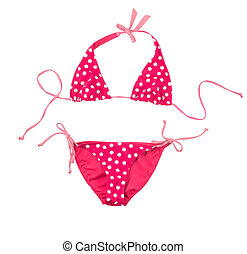 pink swimsuit with white polka dots