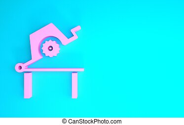 Pink Table saw for woodwork icon isolated on blue background. Power saw bench. Minimalism concept. 3d illustration 3D render
