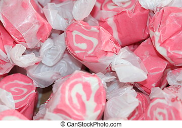 Pink Taffy Candy wrapped in paper