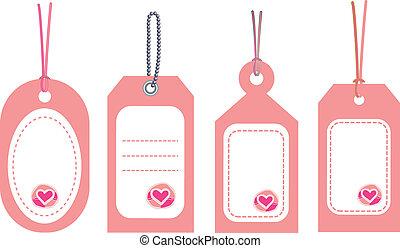 pink tags set