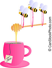 Pink tea cup with bees carrying hon - Pink tea cup with ...