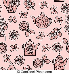 Pink teapot and floral theme seamless repeating pattern.