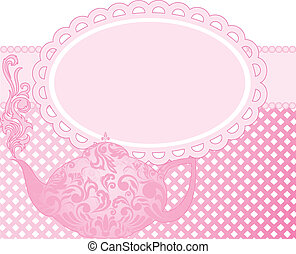 pink teapot - green teapot with a beautiful ornament and...