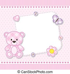 Pink teddy bear card