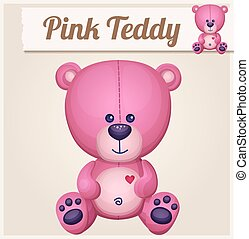 Pink teddy bear. Cartoon vector illustration