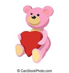 Pink teddy bear with heart cartoon icon