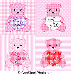 Pink teddy bears cards