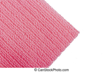 Pink terry towel on a white background.
