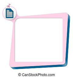 pink text box and blue document icon
