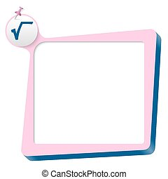 pink text box and blue square root icon