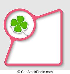 pink text frame with cloverleaf