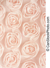 Pink textile background with roses, for backgrounds or textures