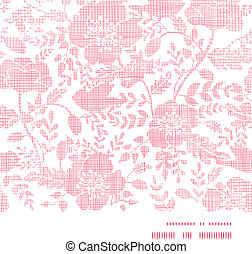 Pink textile birds and flowers horizontal frame seamless pattern background