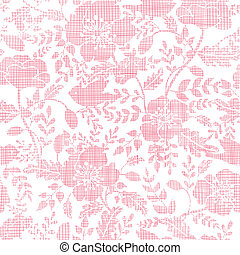 Pink textile birds and flowers seamless pattern background...